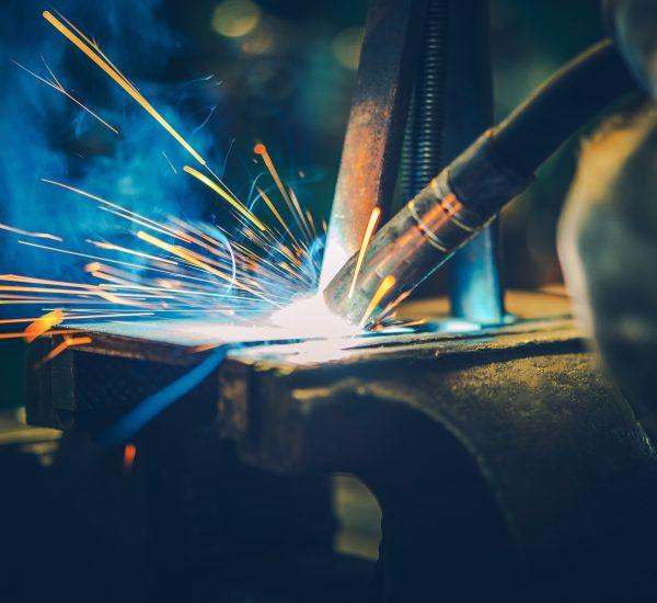 Metal Welding Closeup Photo. Welding in Action.